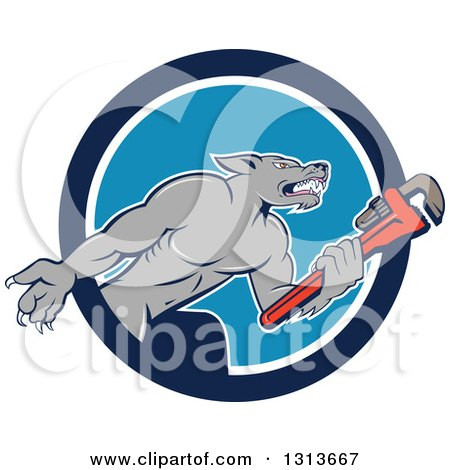 Clipart of a Cartoon Wolf Plumber Mascot Facing Right and Holding a Monkey Wrench, Emerging from a Blue and White Circle - Royalty Free Vector Illustration by patrimonio