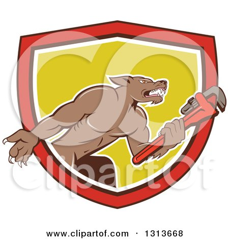 Clipart of a Cartoon Wolf Plumber Mascot Facing Right and Holding a Monkey Wrench, Emerging from a Red, Black, White and Yellow Shield - Royalty Free Vector Illustration by patrimonio