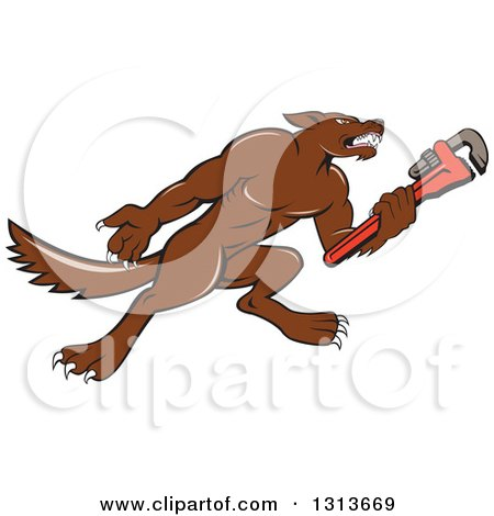 Clipart of a Cartoon Wolf Plumber Mascot Facing Right and Holding a Monkey Wrench - Royalty Free Vector Illustration by patrimonio