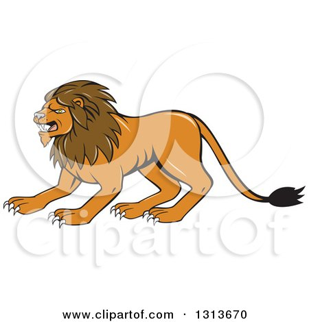 Clipart of a Cartoon Angry Male Lion Crouching - Royalty Free Vector Illustration by patrimonio