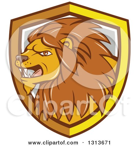 Clipart of a Cartoon Angry Male Lion in a Yellow White and Gray Shield - Royalty Free Vector Illustration by patrimonio