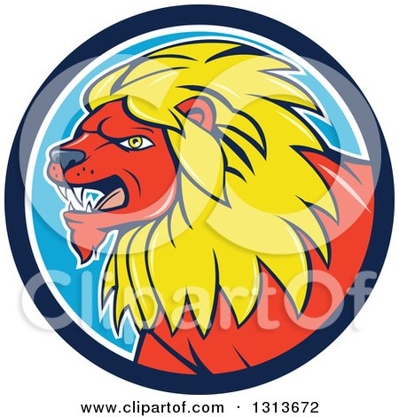 Clipart of a Cartoon Red Male Lion with a Yellow Mane in a Blue and White Circle - Royalty Free Vector Illustration by patrimonio