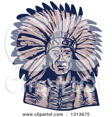 Clipart of a Sketched or Engraved Native American Indian Chief Wearing a Feather Headdress - Royalty Free Vector Illustration by patrimonio