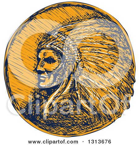 Clipart of a Sketched or Engraved Native American Indian Chief Wearing a Feather Headdress in Navy Blue and Orange - Royalty Free Vector Illustration by patrimonio