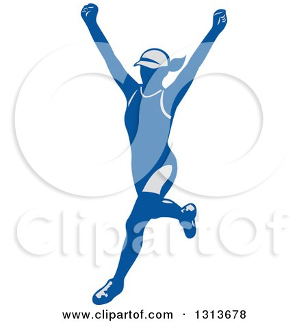 Clipart of a Retro Cheering Female Marathon Runner in Gray and Blue - Royalty Free Vector Illustration by patrimonio