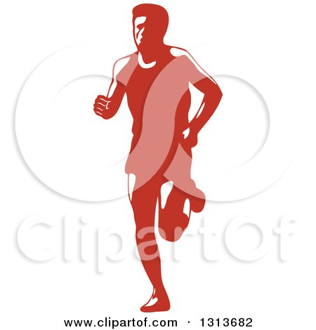 Clipart of a Retro Male Marathon Runner in Red and White - Royalty Free Vector Illustration by patrimonio
