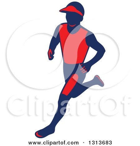 Clipart of a Retro Male Marathon Runner in Red and Navy Blue - Royalty Free Vector Illustration by patrimonio
