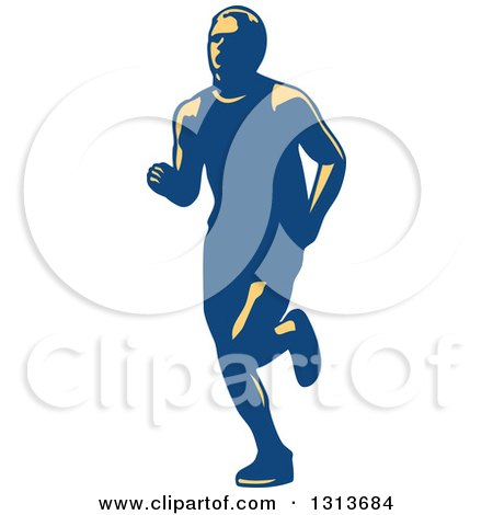 Clipart of a Retro Male Marathon Runner in Yellow and Blue - Royalty Free Vector Illustration by patrimonio