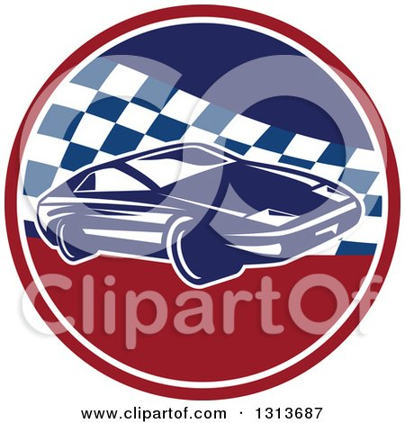 Clipart of a Retro Sports Race Car in a Red White and Blue Checkered Circle - Royalty Free Vector Illustration by patrimonio