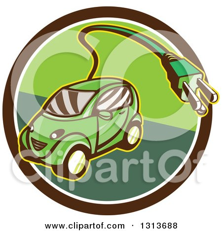 Clipart of a Retro Cartoon Hybrid Electric Car with a Plug in a Brown and Green Circle - Royalty Free Vector Illustration by patrimonio