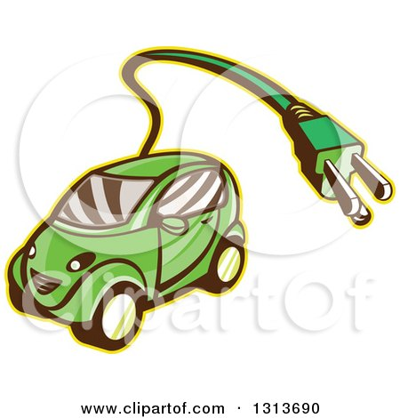 Clipart of a Retro Cartoon Hybrid Electric Car with a Plug - Royalty Free Vector Illustration by patrimonio