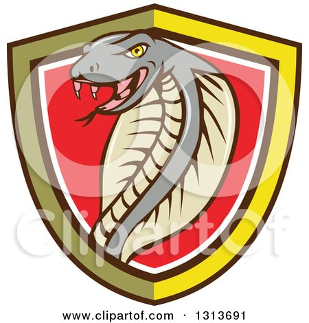 Clipart of a Cartoon Cobra Snake in a Yellow Black White and Red Shield - Royalty Free Vector Illustration by patrimonio
