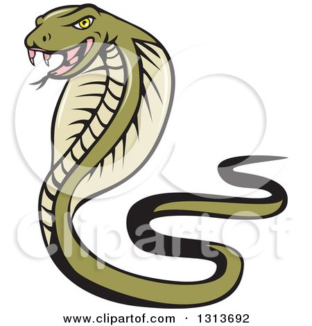 Clipart of a Cartoon Green Cobra Snake - Royalty Free Vector Illustration by patrimonio