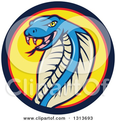 Clipart of a Cartoon Blue Cobra Snake in a Blue Red and Yellow Circle - Royalty Free Vector Illustration by patrimonio