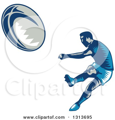 Clipart of a Retro Woodcut Male Rugby Player Kicking 2 - Royalty Free Vector Illustration by patrimonio