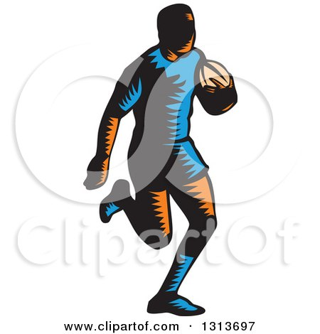 Clipart of a Retro Woodcut Male Rugby Player Running - Royalty Free Vector Illustration by patrimonio