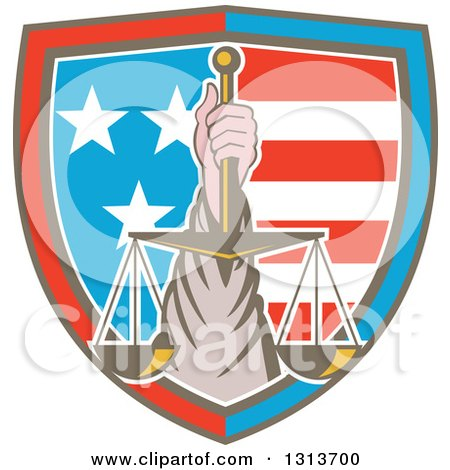 Clipart of a Retro Hand Holding up Scales of Justice in a Shield of American Stars and Stripes - Royalty Free Vector Illustration by patrimonio