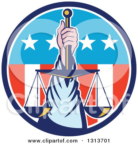 Clipart of a Retro Hand Holding up Scales of Justice in a Circle of American Stars and Stripes - Royalty Free Vector Illustration by patrimonio