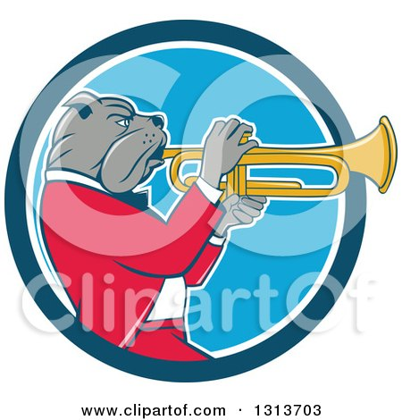 Clipart of a Cartoon Bulldog Musician Facing Right and Playing a Trumpet in a Blue and White Circle - Royalty Free Vector Illustration by patrimonio