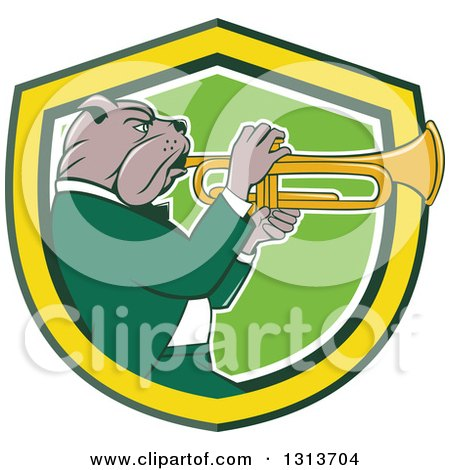 Clipart of a Cartoon Bulldog Musician Facing Right and Playing a Trumpet in a Yellow Green and White Shield - Royalty Free Vector Illustration by patrimonio