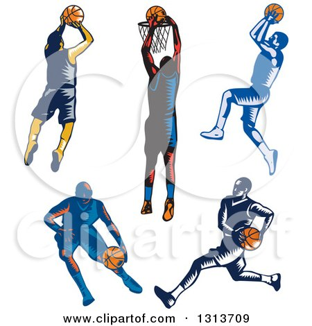 Clipart of Retro Woodcut Male Basketball Players Dribbling, Running and Shooting - Royalty Free Vector Illustration by patrimonio