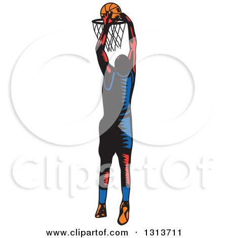 Clipart of a Retro Woodcut Male Basketball Player Slam Dunking - Royalty Free Vector Illustration by patrimonio