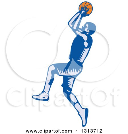 Clipart of a Retro Woodcut Male Basketball Player Jumping and Shooting - Royalty Free Vector Illustration by patrimonio