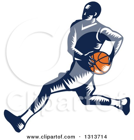 Clipart of a Retro Woodcut Male Basketball Player Running - Royalty Free Vector Illustration by patrimonio
