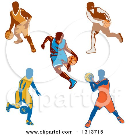 Clipart of Retro Male Basketball Players Dribbling and Passing - Royalty Free Vector Illustration by patrimonio