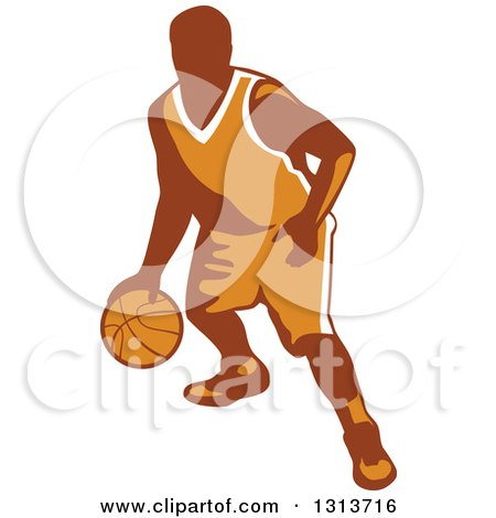 Clipart of a Retro Male Basketball Player Dribbling - Royalty Free Vector Illustration by patrimonio