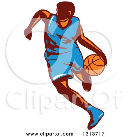 Clipart of a Retro Male Basketball Player Dribbling 2 - Royalty Free Vector Illustration by patrimonio