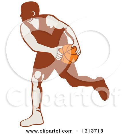 Clipart of a Retro Male Basketball Player Dribbling 3 - Royalty Free Vector Illustration by patrimonio