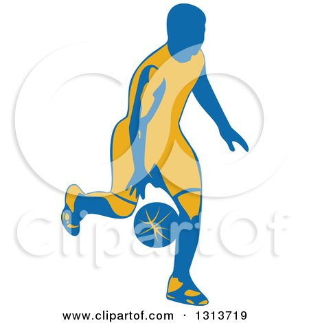 Clipart of a Retro Male Basketball Player Dribbling 4 - Royalty Free Vector Illustration by patrimonio