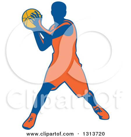 Clipart of a Retro Male Basketball Player Passing - Royalty Free Vector Illustration by patrimonio