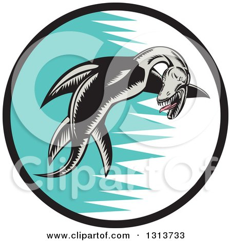 Clipart of a Retro Woodcut Pliosaur Dinosaur Swimming in a Black, White and Turquoise Circle - Royalty Free Vector Illustration by patrimonio