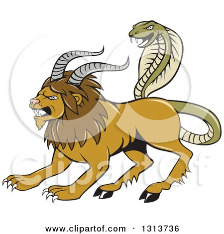 Clipart of a Cartoon Chimera Male Lion with Goat Horns and a Snake Tail - Royalty Free Vector Illustration by patrimonio