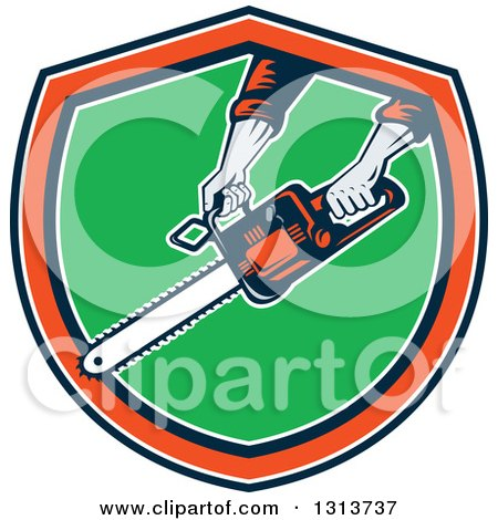 Clipart of a Retro Man's Hands Holding a Chainsaw in a Navy Blue, White, Orange and Green Shield - Royalty Free Vector Illustration by patrimonio