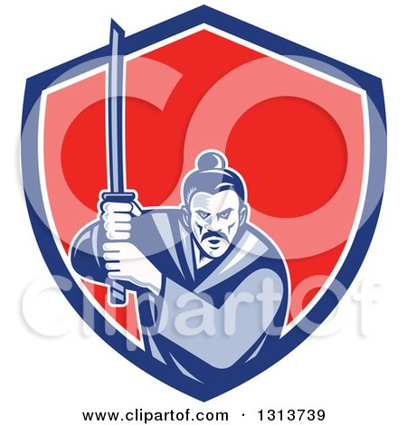 Clipart of a Retro Woodcut Samurai Warrior Holding a Katana in a Blue White and Red Shield - Royalty Free Vector Illustration by patrimonio