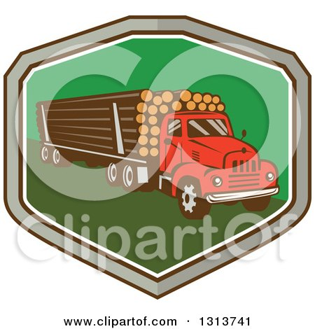 Clipart of a Retro Red Logging Truck Hauling Logs in a Gray, Brown White and Green Shield - Royalty Free Vector Illustration by patrimonio