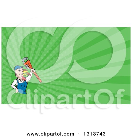 Clipart of a Cartoon Turkey Bird Plumber Worker Man Holding up a Monkey Wrench and Green Rays Background or Business Card Design - Royalty Free Illustration by patrimonio