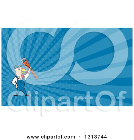 Clipart of a Cartoon Turkey Bird Plumber Worker Man Holding up a Monkey Wrench and Blue Rays Background or Business Card Design - Royalty Free Illustration by patrimonio