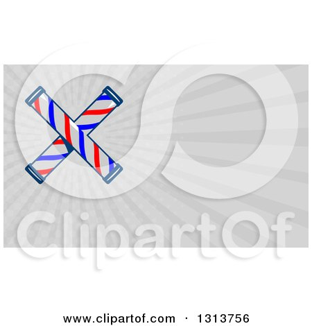 Clipart of a Retro Crossed Barber Poles and Gray Rays Background or Business Card Design - Royalty Free Illustration by patrimonio