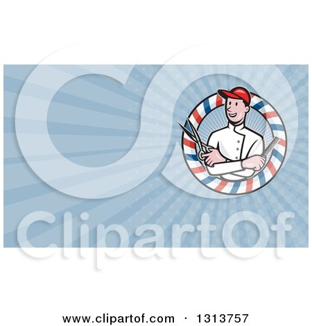 Clipart of a Cartoon Male Barber with Scissors and a Comb in a Circle and Blue Rays Background or Business Card Design - Royalty Free Illustration by patrimonio
