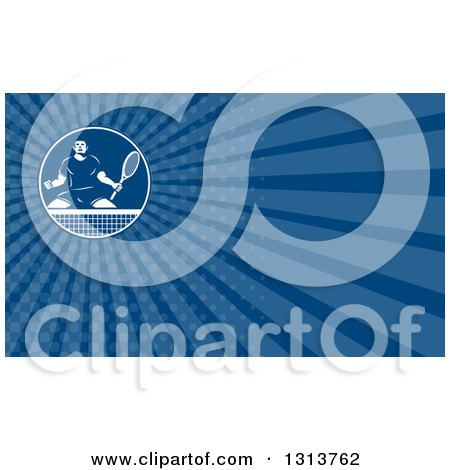 Clipart of a Retro Tough Male Tennis Player and Blue Rays Background or Business Card Design - Royalty Free Illustration by patrimonio