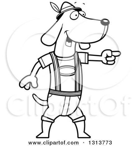 Lineart Clipart of a Cartoon Black and White Skinny German Oktoberfest Dachshund Dog Wearing Lederhosen and Pointing to the Right - Royalty Free Outline Vector Illustration by Cory Thoman