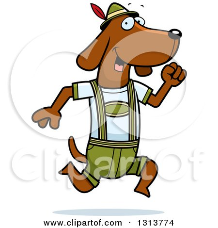 Clipart of a Cartoon Skinny German Oktoberfest Dachshund Dog Wearing Lederhosen and Running to the Right - Royalty Free Vector Illustration by Cory Thoman