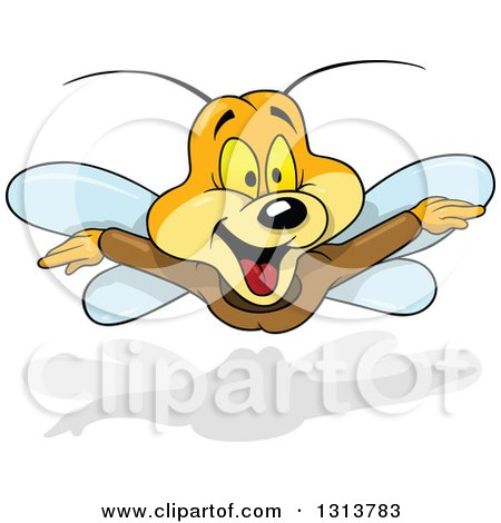 Clipart of a Cartoon Excited Butterfly in Flight - Royalty Free Vector Illustration by dero