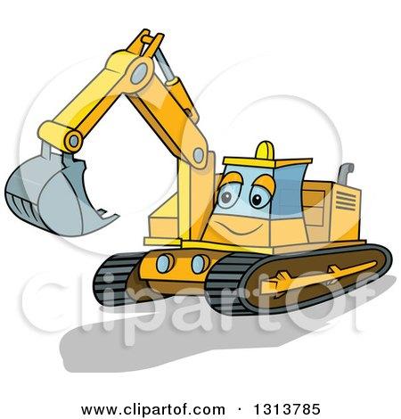 Cartoon Excavator Machine Character Posters, Art Prints