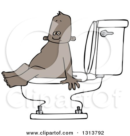 Clipart of a Cartoon Black Baby Boy Sitting on a Toilet - Royalty Free Vector Illustration by djart