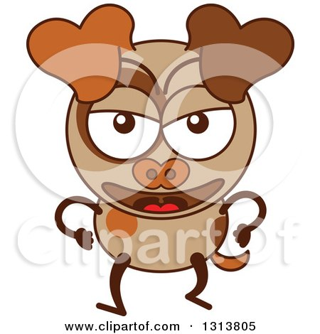 Clipart of a Cartoon Angry Brown Dog Character - Royalty Free Vector Illustration by Zooco